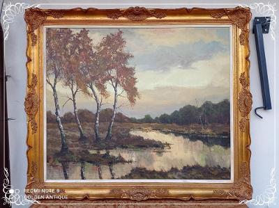 ***Luxusní zámecky zdobený dřevěný malovaný obraz podzimní krajina ***