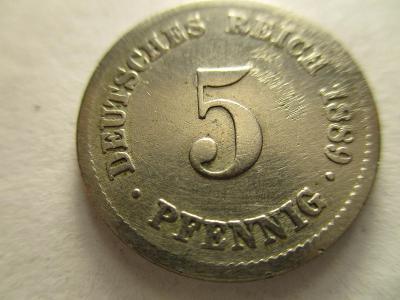 Německo, Kaiser Reich , 5 pfennig z roku 1889 F