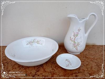 *** Nádherná porcelánová malovaná mycí souprava ***