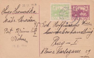 CDV 10, dofr. Hradčany, text Moravská Chrastová, Brněnec 1919, Svitavy