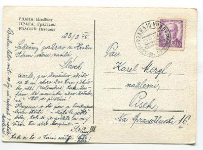 PRAHA Hradčany- příl. razítko NÁVŠTĚVA MARŠÁLA TITA 1946