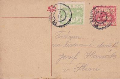 CDV 7, dofr. Hradčany, makulatura??, Plánice 1919 (Klatovy) - Plzeň.