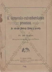 K černovsko - ružomberskému procesu 1908 O. Ivanov