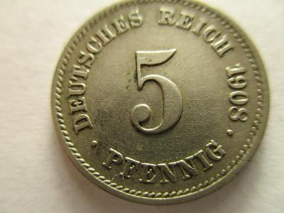 Německo, Kaiser Reich , 5 pfennig z roku 1908 G