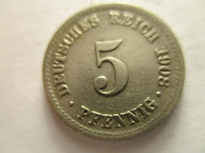 Německo, Kaiser Reich , 5 pfennig z roku 1908 F