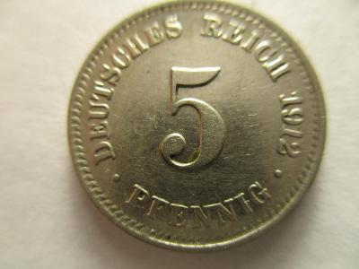 Německo, Kaiser Reich , 5 pfennig z roku 1912 D