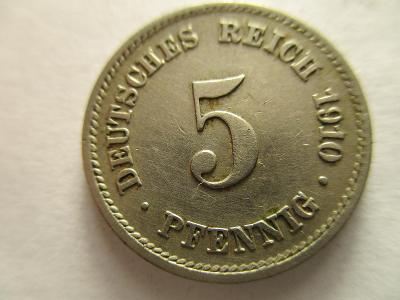 Německo, Kaiser Reich , 5 pfennig z roku 1910 E - HLEDANÁ