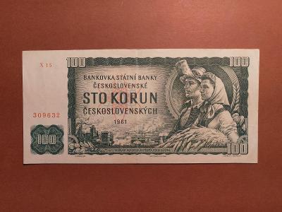 100 Kčs 1961 - NEJVZÁCNĚJŠÍ VARIANTA SÉRIE X - KRÁSNÝ STAV !!!