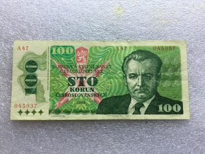 100 KČS 1989.VELKA SER A 47.KLEMENT GOTTWALD.VELMÍ VZÁCNA.