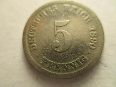 Německo, Kaiser Reich , 5 pfennig z roku 1890 D