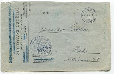 PRAHA 5.5.1945 !!!- dopis. ob. ZÚČTOVACÍ ÚSTŘEDÍ pro..., do PÍSKU