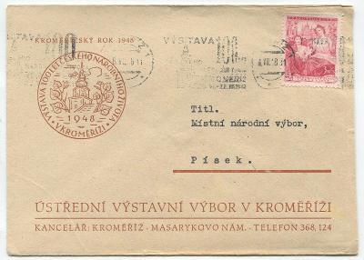 KROMĚŘÍŽ-100 let čes. nár. života v Kroměříži 1948-příl. obálka+nálep