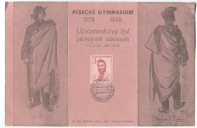 PÍSEK- Upom. list-170 let píseckého gymnásia, studenti-kreslil M. ALEŠ