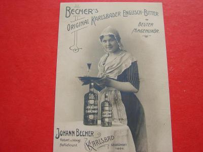 ŽENA Ženy Dívka BECHER Reklamní Muzeum Reprint dobové pohlednice