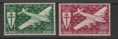 francúzske Guadeloupe 1945 ** letecké  komplet yt. PA 4-5
