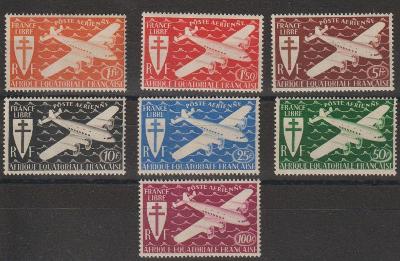 francúzska Rovníková Afrika 1942 ** letecké komplet yt. PA 22-28