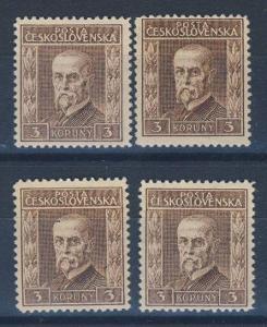 324. / Masaryk 1925 rytina; Pof.198 ** 3Kč III.typ, komplet průsv.P5-8