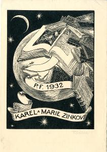 František Kobliha: P. F. 1932 Karel a Marie Zinkovi (signováno)