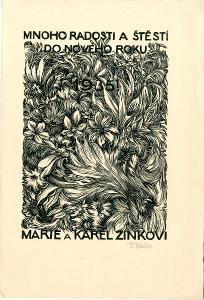 František Kobliha: P. F. 1935 Marie a Karel Zinkovi (signováno)