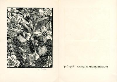 František Kobliha: P. F. 1948 Karel a Marie Zinkovi (signováno)