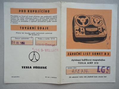Magnetofon Sonet B 3 - záruční list - 1964