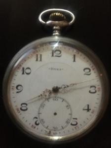 Starožitné kapesní stříbrné hodinky Doxa Milano 1906 - stav 1A