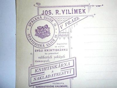 1890 .. Vilímek  .. VERNE  ..Originál  objednávka knihkupectví VILÍMEK
