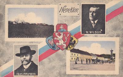 Neveklov okr.Benešov koláž okénková státní znak Masaryk náměstí trikol
