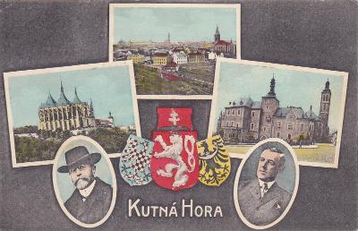 Kutná Hora koláž okénková státní znak Masaryk město chrám mincovna