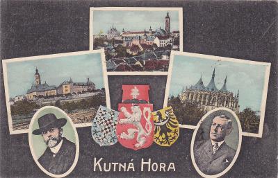 Kutná Hora koláž okénková státní znak Masaryk město mincovna chrám