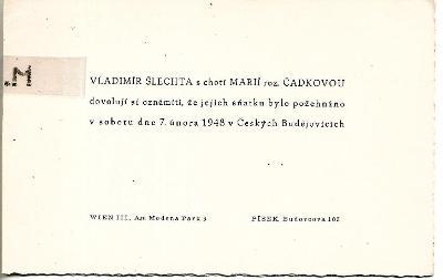 Svatební oznámení, 1948, Vídeň, Písek, České Budějovice