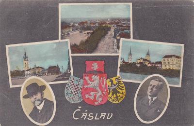 Čáslav okr. Kutná Hora koláž státní znak Masaryk kostel náměstí město
