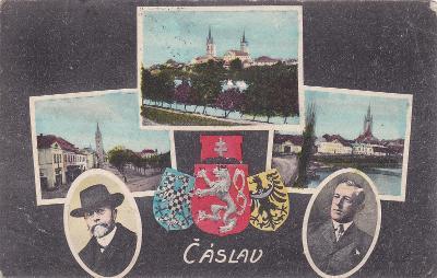 Čáslav okr. Kutná Hora koláž státní znak Masaryk kostely náměstí město