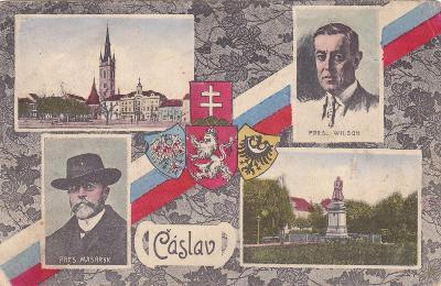 Čáslav okr. Kutná Hora koláž státní znak Masaryk náměstí kostel pomník