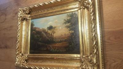 Romantická krajinka, olej na plátně, 19. st., sig. K. Hofmann
