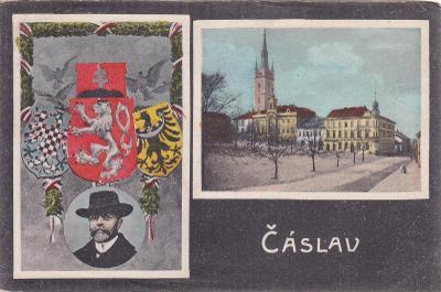 Čáslav okr. Kutná Hora koláž státní znak Masaryk náměstí kostel