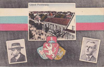 Poděbrady okr. Nymburk koláž státní znak trikolora Masaryk lázně