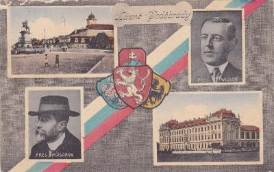 Poděbrady okr. Nymburk koláž státní znak Masaryk náměstí pomník budovy