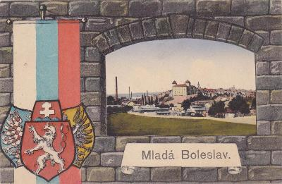 Mladá Boleslav koláž okénková státní znak trikolora pohled na město