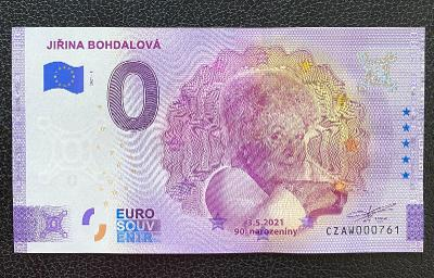 0 Euro Souvenir bankovka JIŘINA BOHDALOVÁ - 90. narozeniny