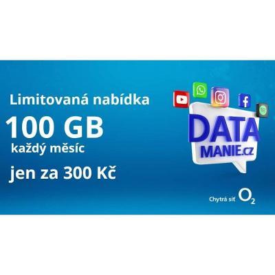 O2 SIM nerozbalená SIM karta DATAMANIE - 100GB dat měsíčně od 1 Kč