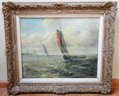 Plachetnice na moři - 20. století, Olej/sig.