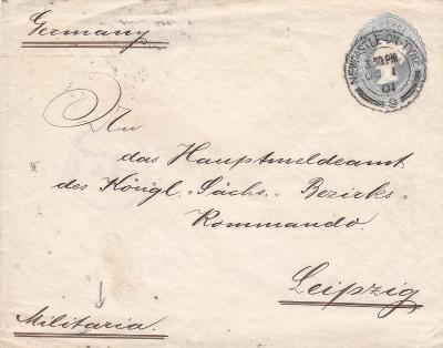 Velká Británie, obálka, Newcastle 1901 - Německo, Lipsko.