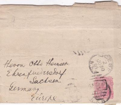 Austrálie, NSW, novinový rukáv 1904 - Německo. Stopy provozu!