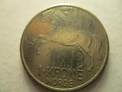 Norsko - 1 Krone z roku 1970 - Kůň