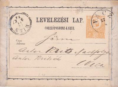 Uhersko, žluťásek, Vácz 1872 - Vídeň. POZOR! Na pravém i levém okraji