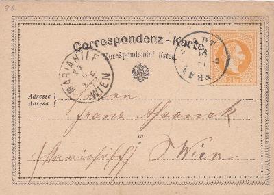 Rakousko, žluťásek, Frenštát p. R. 1872 (Nový Jičín) - Vídeň. POZOR!