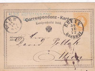 Rakousko, žluťásek, Brno-nádraží 1872, firma - Vídeň.