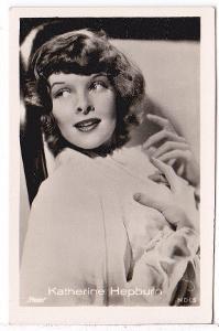 Fotoska s herečkou Katherine Hepburn  (4.5x7 cm)