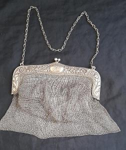 Krásná,starožitná kabelka-pompadůrka-velká 18x20cm.